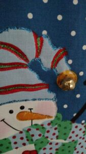 Closeup of mini snowman